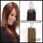 Mega Hair Microlink Cabelo Humano Cor #4/27 Castanho Médio Mix Loiro Escuro