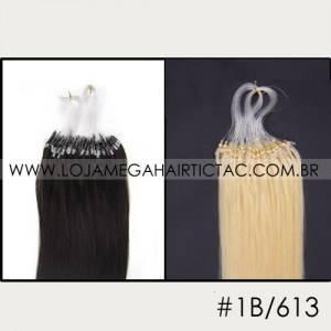 Mega Hair Microlink Cabelo Humano Cor # 1B/613 Preto Natural mix Loiro Claro