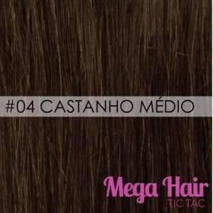 Mega Hair Microlink Cabelo Humano Cor #04 Castanho Médio