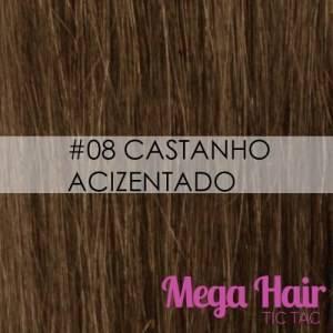Mega Hair Microlink Cabelo Humano Cor #08 Castanho Acinzentado