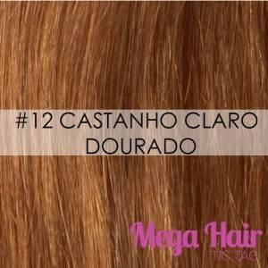 Mega Hair Microlink Cabelo Humano Cor #12 Castanho Claro Dourado