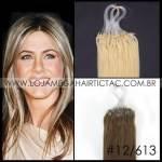 Mega Hair Microlink Cabelo Humano Cor #12/613 Castanho Claro Dourado mix Loiro Claro