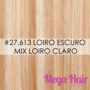 Mega Hair Tic Tac Cabelo Humano Cor # 27/613 Loiro Escuro mix Loiro Claro