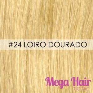 Mega Hair Ponta Queratina 51 Cm 100 Mechas 50 Grama Cabelo Humano Cor # 24 Loiro Dourado