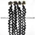 Mega Hair Ponta Queratina Encaracolado 51 cm 100 Mechas 50 gr Cabelo Humano Cor #1B Preto Natural