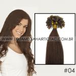 Mega Hair Ponta Queratina Cabelo Humano Liso 51 Cm 100 Mechas 50 Gramas Cor #04 Castanho Médio
