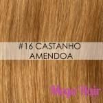 Mega Hair Ponta Queratina Cabelo Humano Liso 51 Cm 100 Mechas 50 Gramas Cor #16 Castanho Amêndoa