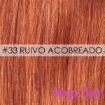 Mega Hair Ponta Queratina Cabelo Humano Liso 51 Cm 100 Mechas 50 Gramas Cor #33 Ruivo Acobreado