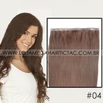 Mega Hair Tela Adesiva 51 Cm 55 Gramas 100 Cm de Largura Cabelo Humano #04 Castanho Médio