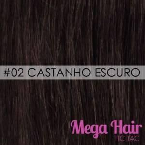 Mega Hair Tic Tac Ondulado Cabelo Humano Cor #02 Castanho Escuro
