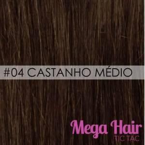 Mega Hair Tic Tac Ondulado Cabelo Humano Cor #04Castanho Médio