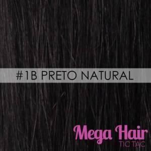 Mega Hair Tic Tac Ondulado Cabelo Humano #1B Preto Natural