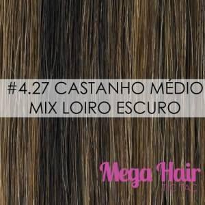 MEGA HAIR TIC TAC ONDULADO CABELO HUMANO COR #4/27 CASTANHO MÉDIO / LOIRO ESCURO