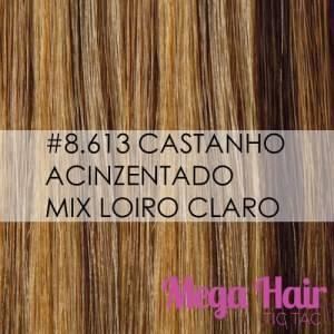 Mega Hair Fita Adesiva 66cm – 140 Gramas Cabelo Humano Cor #8/613 Castanho Acinzentado / Loiro Claro