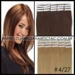 Mega Hair Fita Adesiva 66 cm – 140 Gramas Cabelo Humano Cor # 4/27 Castanho Médio Mix Loiro Escuro