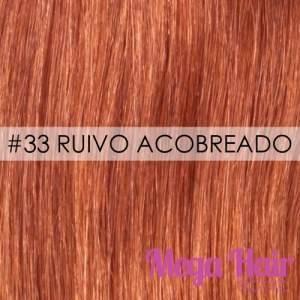 Mega Hair Fita Adesiva Cabelo Humano Cor # 33 Ruivo Acobreado