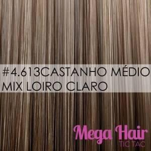 Mega Hair Fita Adesiva 56 cm – 120 Gramas Cabelo Humano Cor # 4/613 Castanho Médio Mix Loiro Claro