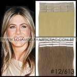 Mega Hair Fita Adesiva 46 cm – 80 Gramas Cabelo Humano Cor # 12/613 Castanho Dourado Mix Loiro Claro