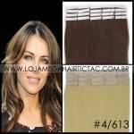 Mega Hair Fita Adesiva 46 cm – 80 Gramas Cabelo Humano Cor # 4/613 Castanho Médio Mix Loiro Claro
