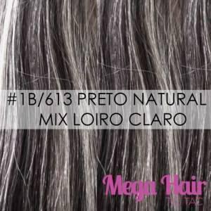 Mega Hair Fita Adesiva 46 cm – 80 Gramas Cabelo Humano Cor # 1B/613 Preto Natural Mix Loiro Claro
