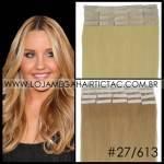 Mega Hair Fita Adesiva 46 cm – 80 Gramas Cabelo Humano Cor # 27/613 Loiro Escuro Mix Loiro Claro