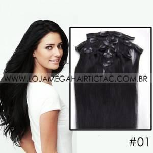 Mega Hair Tic Tac Cabelo Orgânico Sintético Alta Qualidade 7 peças 46,51,56,61 Centímetros