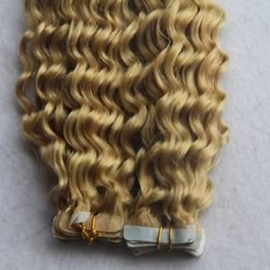Mega Hair Fita Adesiva Encaracolado Cabelo Humano Cor #27 Loiro Escuro