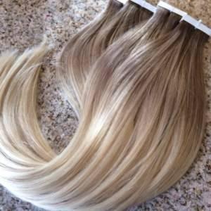 Mega Hair Fita Adesiva Cabelo Humano Liso Remy Loiro Ombre