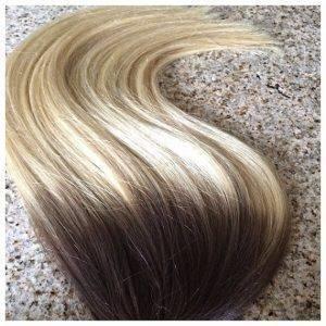 Mega Hair Fita Adesiva Cabelo Humano Lisos Ombre balaiagem Castanho e Loiro Médio