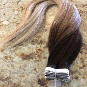 Mega Hair Fita Adesiva Cabelo Humano Lisos Ombre Balaiagem Castanho com Loiro Médio