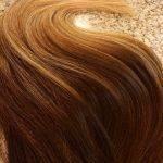 Mega Hair Fita Adesiva Cabelo Humano Liso Balaiagem Castanho Médio com Loiro Escuro