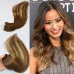 Mega Hair Fita Adesiva Cabelo Humano Liso Balaiagem Mechas Cor #4 #27