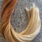 Mega Hair Fita Adesiva Cabelo Humano Liso Ombre Ruivo Claro Alaranjado com Loiro 40 peças 100 gramas