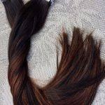 Mega Hair Fita Adesiva Cabelo Humano Liso Ombre Balaiagem Cor Castanho Médio Acobreado