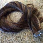 Mega Hair Fita Adesiva Cabelo Humano Liso Balaiagem Mechas Castanho Escuro com Loiro