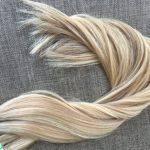 Mega Hair Fita Adesiva Cabelo Humano Liso Mechado Loiro Médio com Loiro Claro