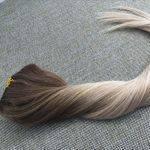 Mega Hair Tic Tac Cabelo Humano Balaiagem Ombre Castanho mix Loiro