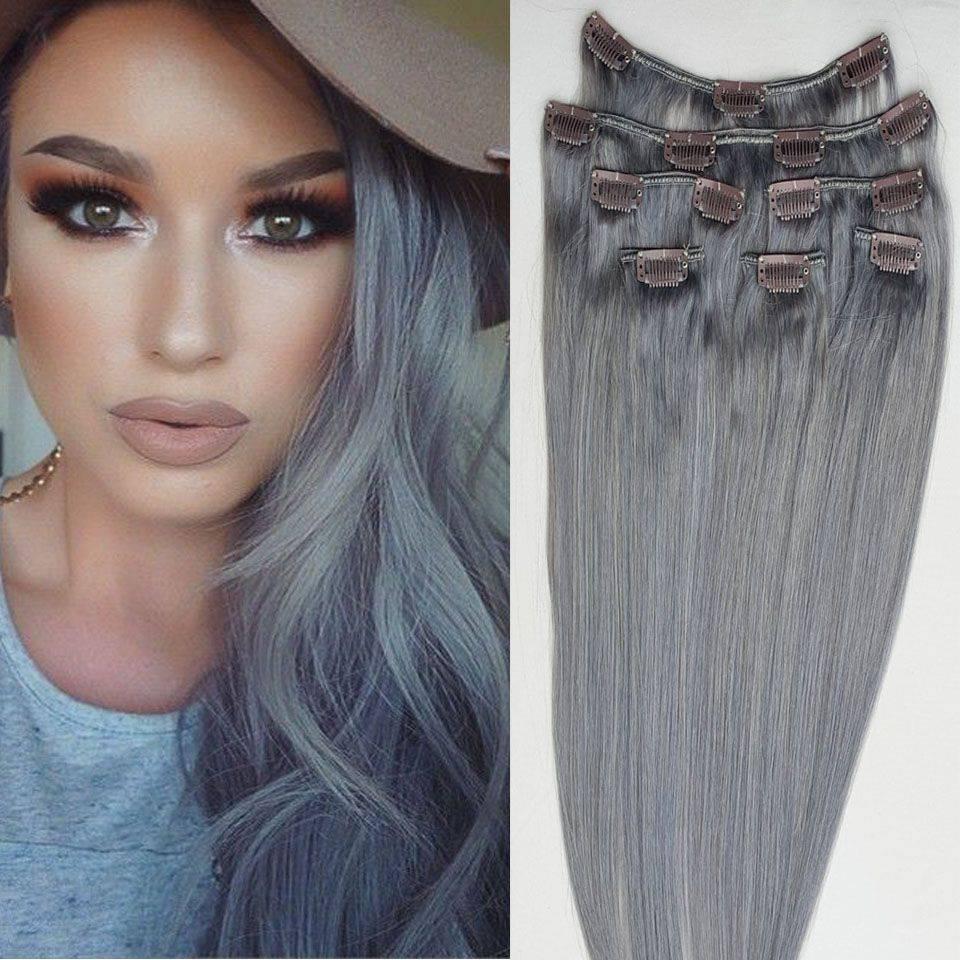 Mega Hair Tic Tac Cabelo Humano Remy Liso 7 Peças 120 gramas # Cinza Escuro