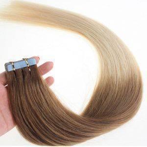 Mega Hair Fita Adesiva Cabelo Humano Liso Ombre Hair 20 peças