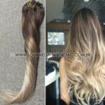 Mega Hair Tic Tac Cabelo Humano Gramas Balaiagem Ombre Castanho mix Loiro Cor #4 #18