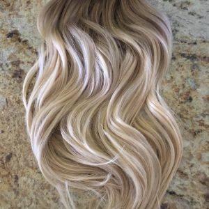 Mega Hair Tic Tac Cabelo Humano Remy Ondulado Ombre Hair Castanho Acinzentado mix Loiro