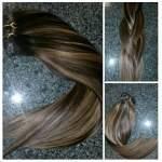Mega Hair Tic Tac Cabelo Humano Remy Liso Mechado cor #2/27