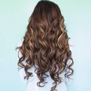 Mega Hair Tic Tac Ondulado Cabelo Humano Balayage Castanho Médio Acobreado com Loiro Escuro