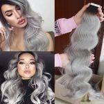 Mega Hair Fita Adesiva Ondulado Cabelo Humano Ombre Hair Preto e Cinza