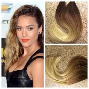 Mega Hair Fita Adesiva Cabelo Humano Remy Liso cor Loiro Escuro com Loiro Médio Ombre Hair