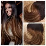 Mega Hair Fita Adesiva Cabelo Humano Liso cor Ombre #1B e Loiro Caramelo