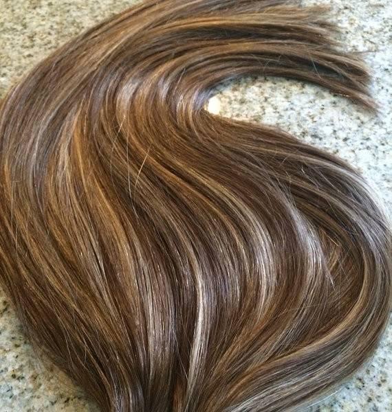 Mega Hair Fita Adesiva Cabelo Humano Liso Balaiagem CastanhoChocolate com Loiro Claro 2
