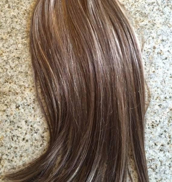 Mega Hair Fita Adesiva Cabelo Humano Liso Balaiagem CastanhoChocolate com Loiro Claro 3