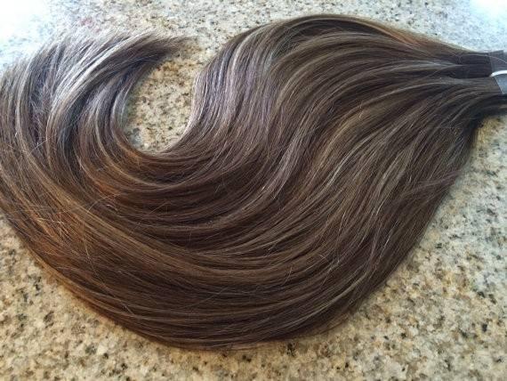 Mega Hair Fita Adesiva Cabelo Humano Liso Balaiagem CastanhoChocolate com Loiro Claro 4