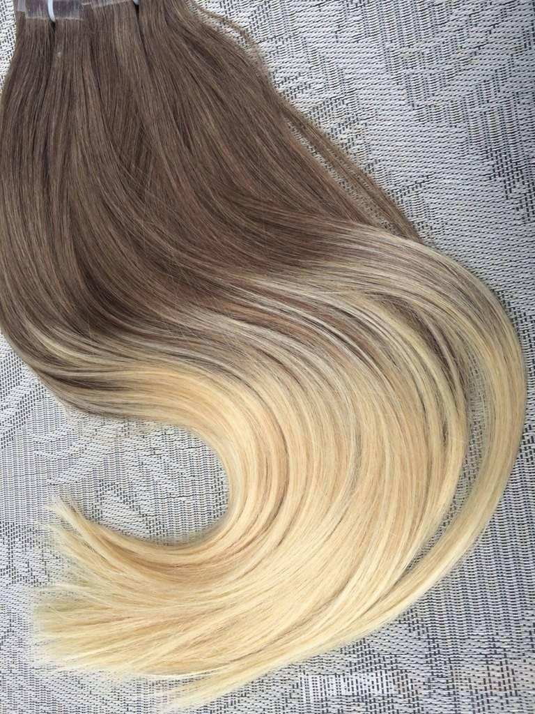 Mega Hair Fita Adesiva Cabelo Humano Liso Ombre Castanho Acinzentado com Loiro Claro 2